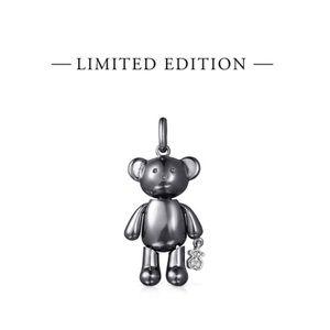 Titanium Diamond Teddy Bear Medium Pendant